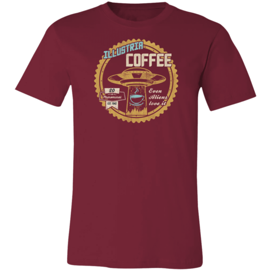 UFO T Shirt Funny Coffee Men's Women's BC3001C T-Shirt