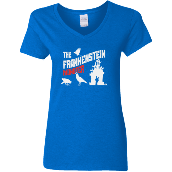 Frankenstein's Monster Book Cover G500VL Ladies' V-Neck T-Shirt